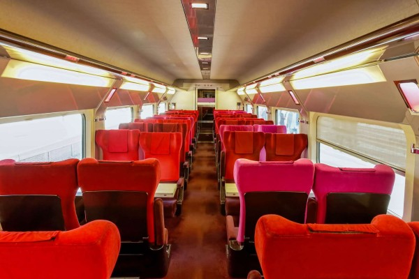 Interior of the high-speed train.Interior of the high-speed train.